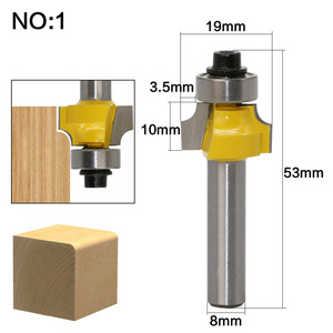 Image 3 - 1 pz 8mm Shank Rotondo Over Punte del Router per il legno Lavorazione Del Legno Strumento 2 flauto fresa con cuscinetto fresatura taglierina Angolo Rotonda Sul Bit