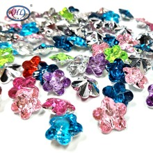 HL 60PCS 11MM Colorful Flower Shape Acrylic Sew-on Rhinestones Pointback Buttons Garment Bags Sewing Accessories DIY Crafts