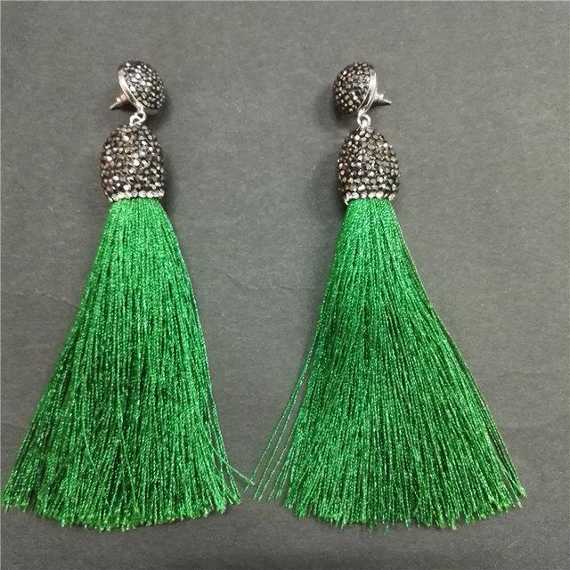 Bohemian Boho Glass Dark Green Silk Fabric Thread Wire Thick Tassels ...