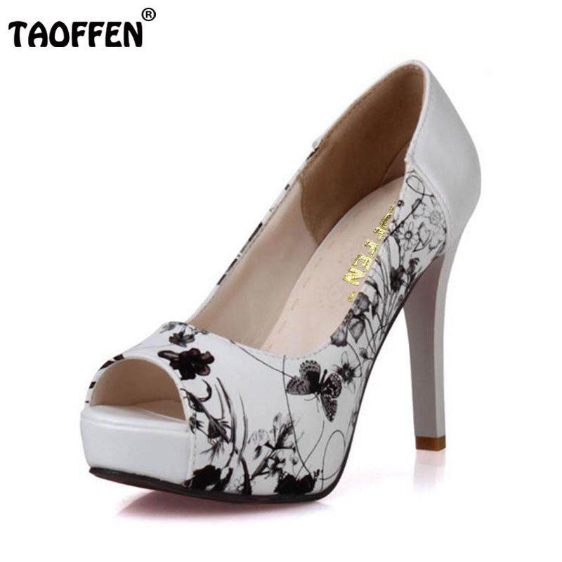 TAOFFEN Size 33-43 Sexy Women High Heel Shoes Women Print Peep Toe Platform Thin Heels Pumps Party Club Office Ladies Footwear