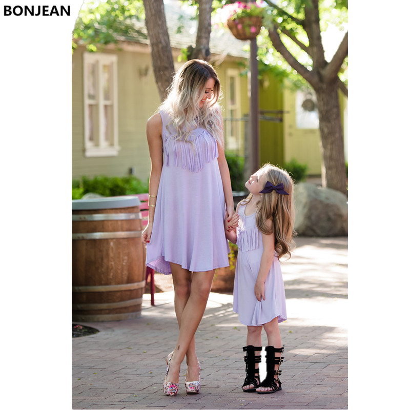 Mother Daughter Dresses Baby Girl Wedding Princess Dress Mommy and Me Clothes Elegant Tassel Love Mama Mum and Daughter Clothes