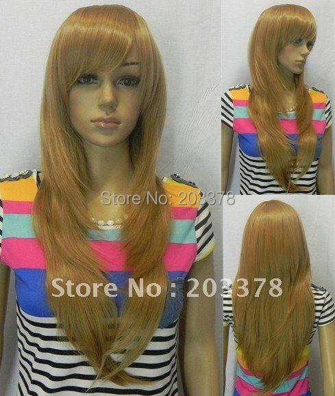 Terbaru gaya rambut lurus panjang populer Butterscotch warna pirang Wig  sintetis e125cfa5d4