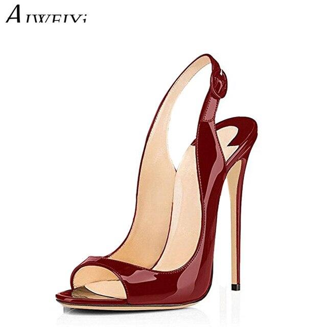 chaussures de sport 4db32 004c8 AIWEIYi femme chaussures 2019 été dame sandales talons aiguilles Sandalias  Mujer 12 cm bureau Sandalia Feminina parti pompes