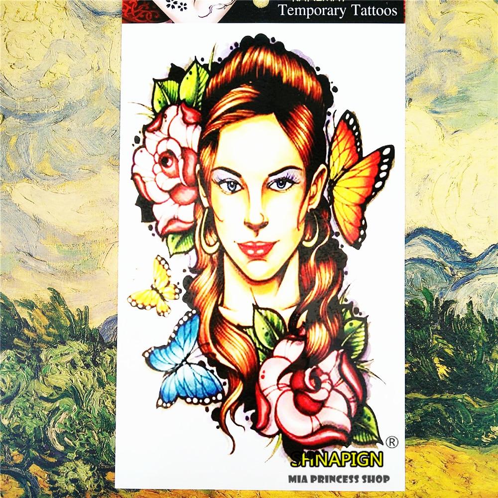 SHNAPIGN Flor Sexy Tatuaje Temporal Body Art, 12*20 cm Flash Del Tatuaje Pegatin