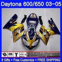 Body For Triumph Daytona600 Daytona 650 02 03 04 05 125HM.17 Daytona650 Daytona 600 Golden blue 2002 2003 2004 2005 Fairing kit
