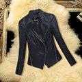 Горячая кожа корейский новых женских пальто мода воротник тонкий кожаная куртка