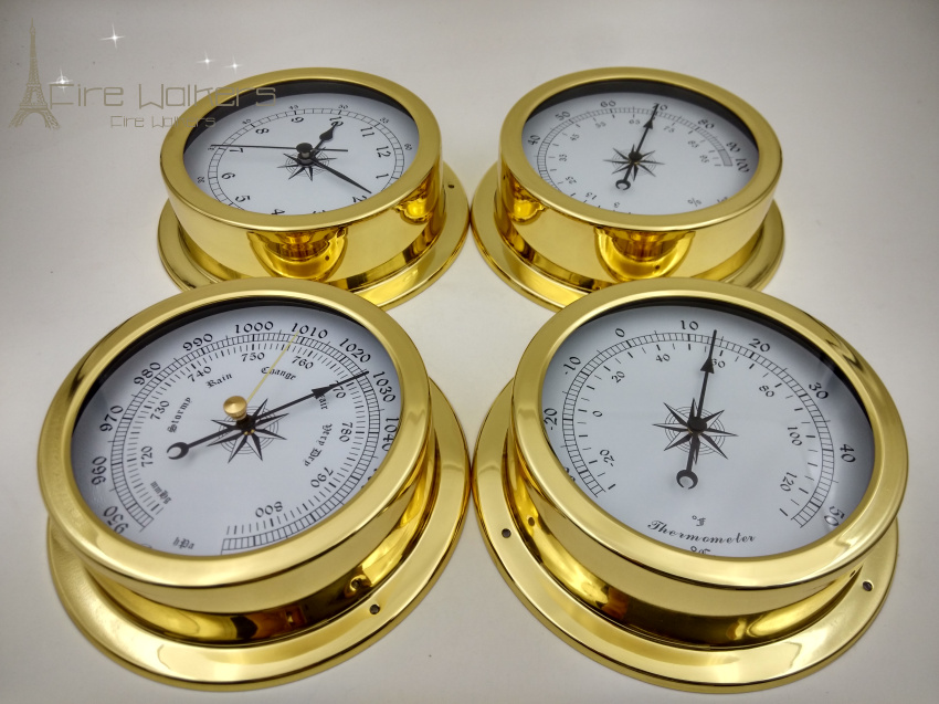 4 pcs set Brass Case Traditional Weather Station Barometer Temperature Hygrometer Humidity and Clock 145mm Large