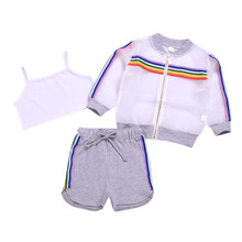 3pcs Baby Girl Summer Clothes Rainbow Sun Protection Jacket Shirt With Tank Top For Girls Shorts Girls Clothing Sets