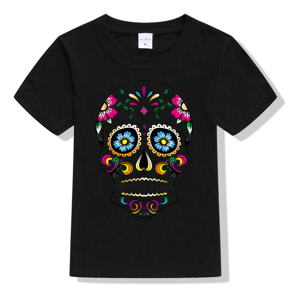 Summer Cartoon Pixar Movie COCO skull 100% Cotton T-Shirt Tops Short Sleeve Clothes Casual Sport Tops Tees Cotton T shirts Boys mens casual 3d personality skull printing short sleeve t shirt cotton sport black tees
