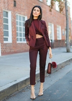 Formal Burgundy Blazer Women Business Suits with Pant and Jacket Sets Ladies Office Uniform Designs Styles W212