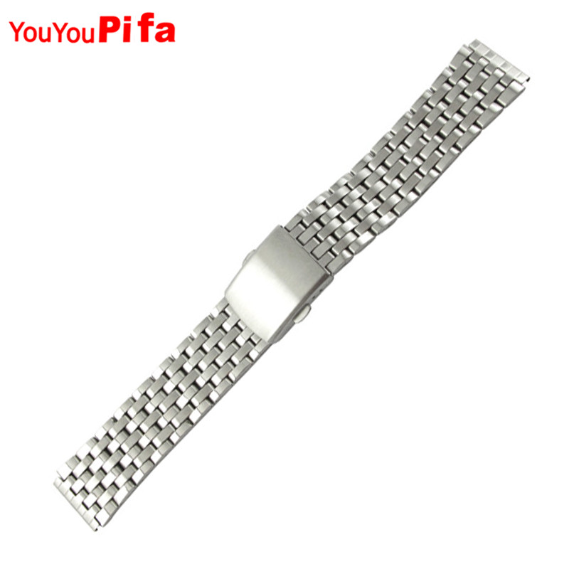 Silver High Quality 1PCS Men Women 18mm 20mm Stainless Steel Watch Band Adjustable Watch Strap Bracelet Watchband Relojes Hombre