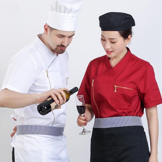 Manica corta cinese ristorante uniforme del cameriere cucina chef uniforme  manica lunga giacca cuoco cuoco chef a4e276fa9b38