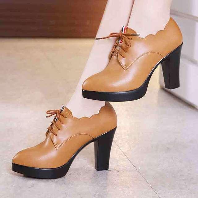 Plus Size 32-43 Pointed Toe Leather Shoes Woman High Heel Oxfords 2018 Deep Block  Heels Pumps Platform Office Shoes Black Heel c75576a7983e