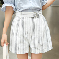 Summer And Autumn New Cotton And Linen A Wide Leg Fashion Leisure High Waist Elastic Waist