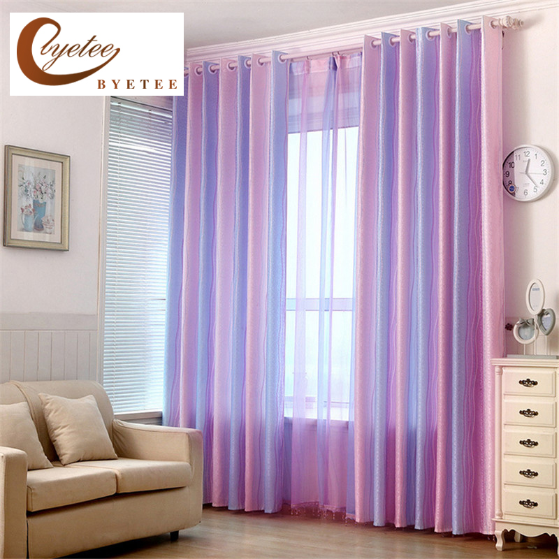 Byetee High Quality Modern Strip Rainbow Children Baby Curtain For Living Room