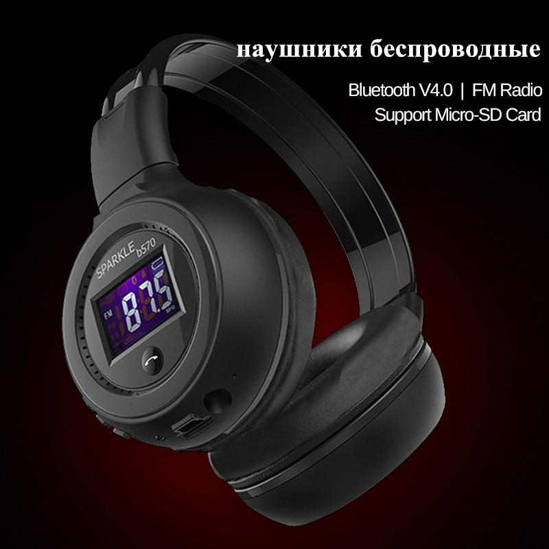 ZEALOT B570 Stereo Bluetooth 4.0 Headphone Foldable HiFi Bass Earphone Wireless MP3 Bluetooth Headset W/ Screen FM Radio TF Slot ks 509 mp3 player stereo headset headphones w tf card slot fm black