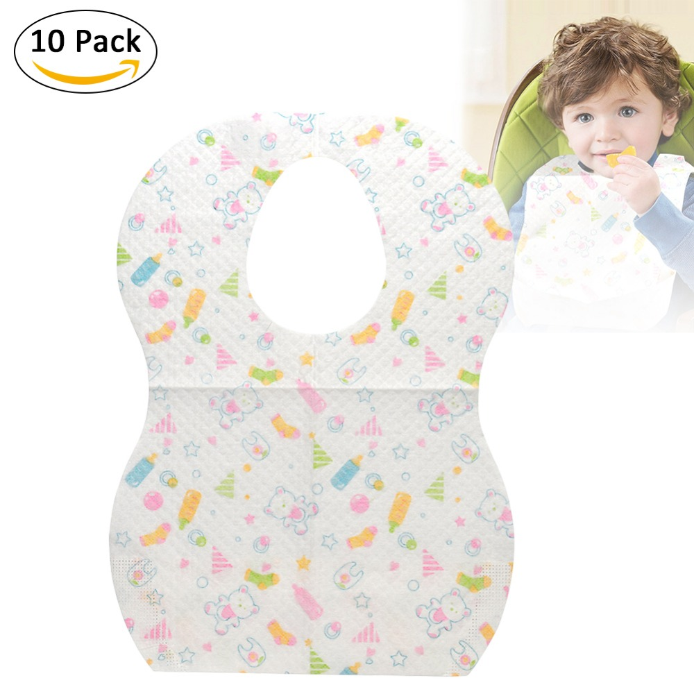Clean Disposable Saliva Towels Portable Outdoor Eating Bibs For Children Babies 10 PCS