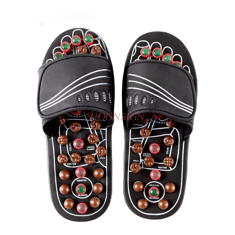 Feet Massage Plantar Slippers Male Cobblestone Female Indoor Magnetic Therapy Jade Sole Foot Health Point Pedicure Shoes natural cobblestone jade massage foot soles the feet acupoint massage eliminate fatigue wooden soles 24 27cm