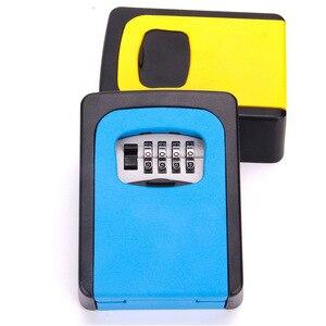 Image 2 - Wand Montiert Ersatz Schlüssel Safe Storage Box mit 4 Digit Kombination Passwort Lock Hause Büro Metall Versteckte Key Geheime Organizer