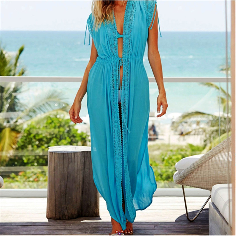 elegant white cotton tunic women summer beach dress