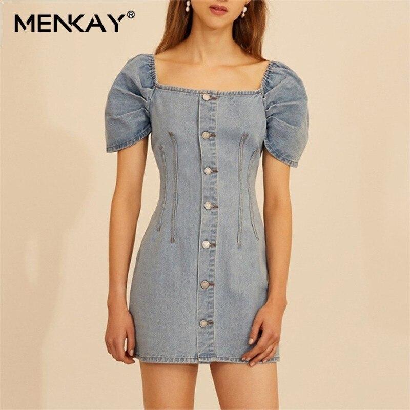 [MENKAY] décontracté solide Denim plage robe femmes col carré manches bouffantes Slim bouton Mini robes femme mode vêtements d'été