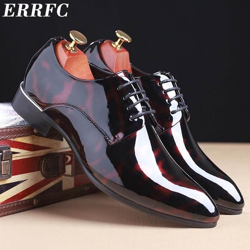 ERRFC Hommes Shinny Robe Chaussures Bout Pointu Lace Up PU Chaussures de  Soirée En Cuir Homme 797dc8f171b7