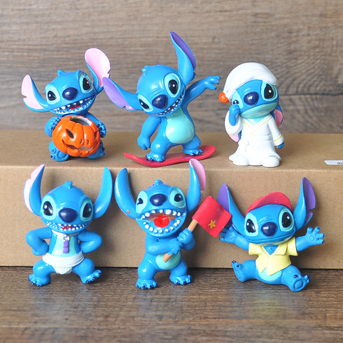 6 Pcs/set Anime Cartoon Lilo & Stitch Mini PVC Action Figure Toys Dolls Children Toys Gifts 6 pcs set cute hello kitty action figure toys 5cm mini pvc cartoon cat model collection toys girls christmas birthday gifts