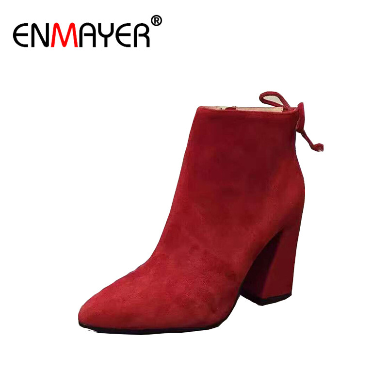 ФОТО ENMAYER Spring/Autumn Women Ankle Boots Genuine Leather Zippers Round Toe Chunky Extreme High Heels Platform Shoes Flock Boots