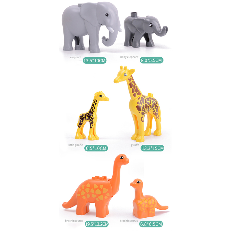 5Pcs-50pcs DIY Big Size Farm Dinosaur Animal Series Building Blocks Sets Bricks Compatible with Duploe Toys  for children  (5)
