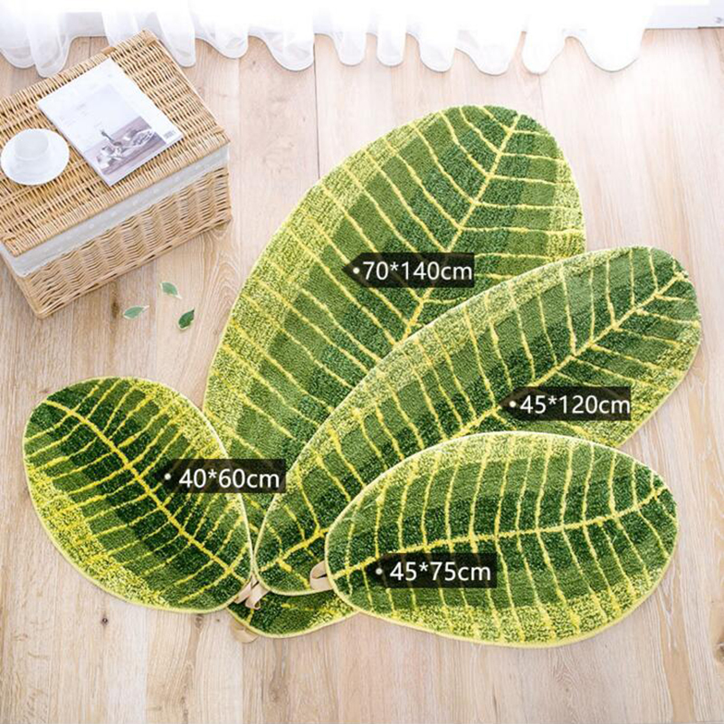 Green Leaves Mats Polyester Home Hallway Bedroom Kitchen Floor Rugs Non-slip Thick Carpet Absorbent Bath Mat High Qiality Home Textile Home & Garden