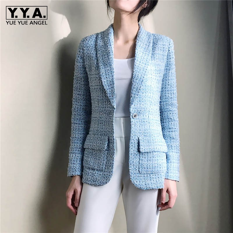 2019 Spring Womens Blaze Tweed Blue Plaid Slim Tailoring Professional Woman Thin Coat High-end Silk Lining Top Blazers Jacket