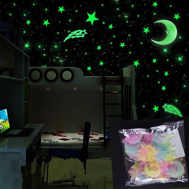 100 pçs/set noite lua luminosa estrelas adesivo luz brilho no escuro brinquedos childen de luz adesivos para crianças quarto decoração presentes
