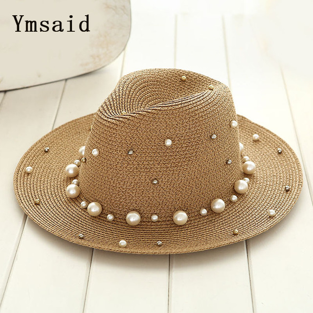 Ymsaid 2018 New Summer British pearl beading flat brimmed straw hat Shading sun hat Lady beach hat