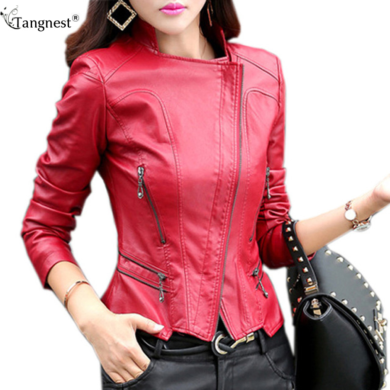 TANGNEST Women Leather Jacket 2017 New Ps