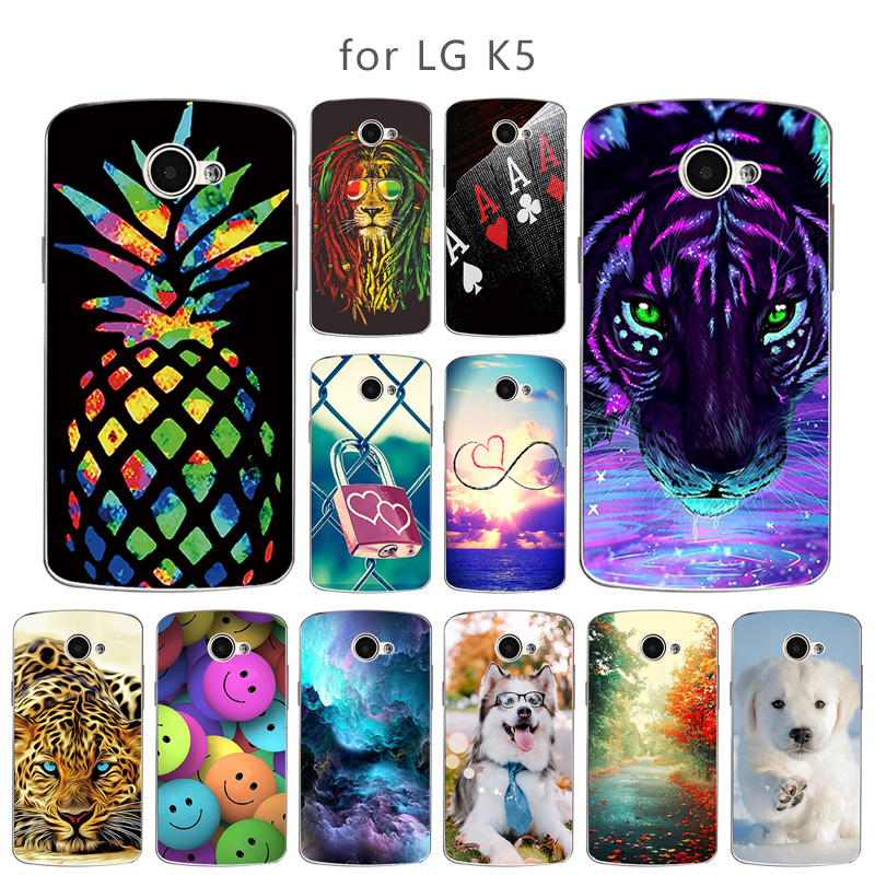 For LG K5 Case Soft TPU Shell For LG K5 LTE <font><b>X220DS</b></font> x220 K 5 Skuli Back Cover Flower Style For LG k5 5.0'' K 5 Phone Cases image