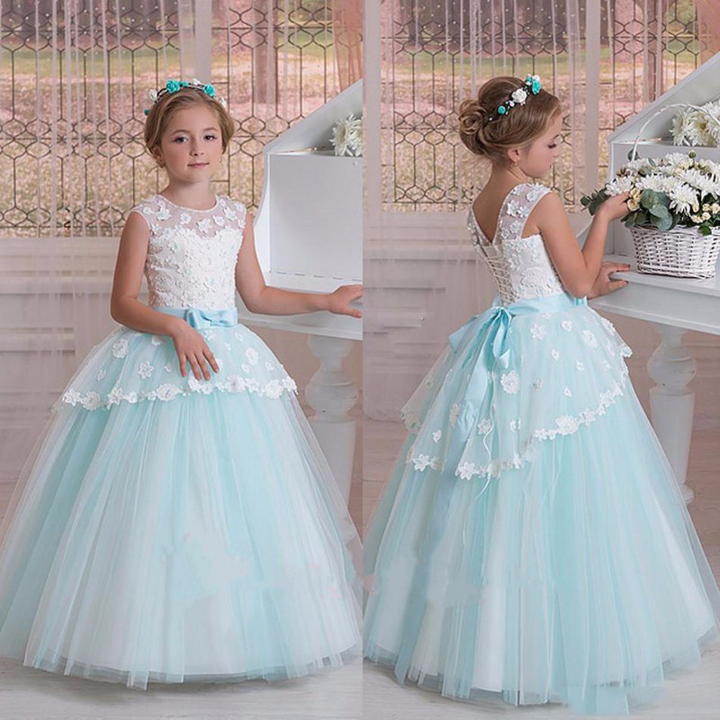 New Sky Blue Tulle Flower Girl Dresses For Weddings Lace Ball Gown Pageant Dress Floor Length Party Communion Dress With Sash 2018 sky blue vintage communion dress with lace appliques long tail tulle ball gown for girl party pageant gowns