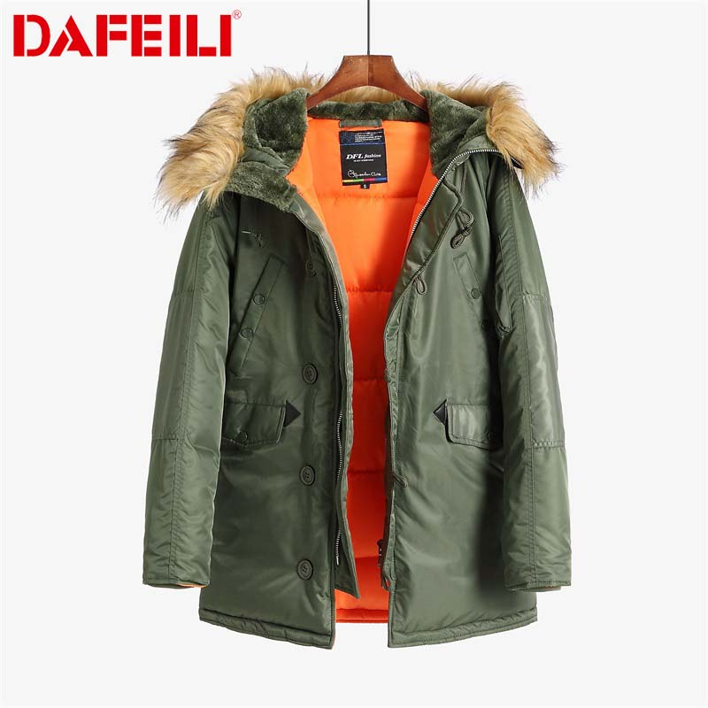 N-3B Winter Coat Men Fur Hood Slim Fit Thick Parka Padded Military Jacket For Cold Weather