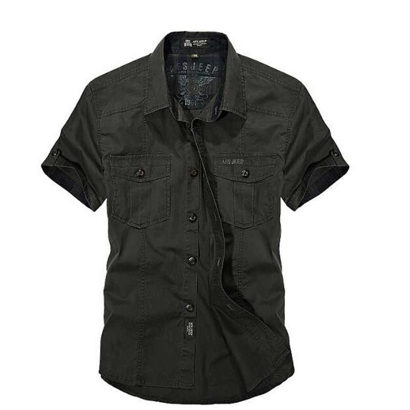 AFS ZDJP мужские 2018 новые летние мужские однотонные Военные рубашки с коротким рукавом хлопковая воздухопроницаемая рубашка homme свободная армейская рубашка