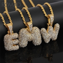 купить ROMAD Iced Out Zirconia Crystal 26 Letters Pendant Necklace Pendants for Women Men Punk Initials Name Necklace Hip Hop Jewelry R дешево