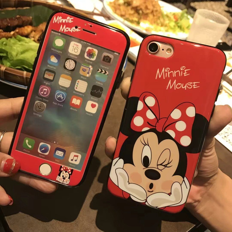 RHOADA Cartoon Mickey Minnie Mouse Back Phone Case+Same Tempered Glass Suit Cover For iphone 6 6s Plus iphone 7 Plus Shockproof