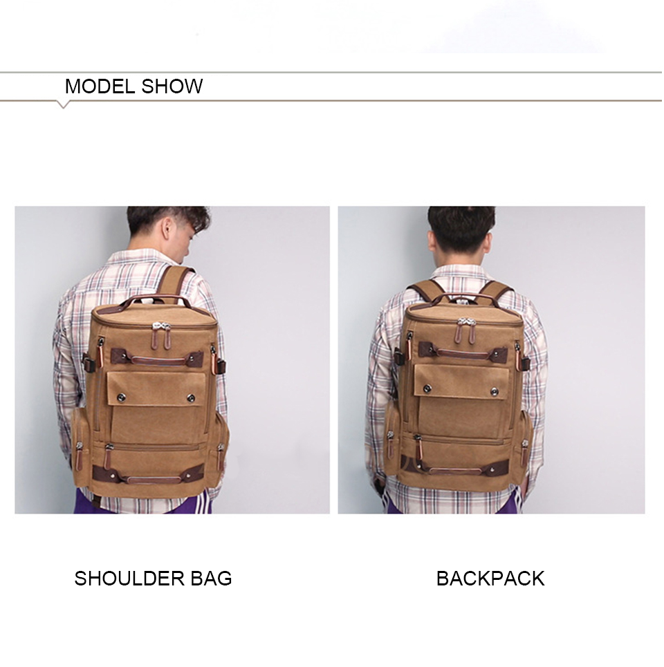 12 Canvas Backpack 15.6'' Laptop Backpacks Men Bagpack Wearproof School Bag for Teenage Male Knapsack Travel Bags Fashion Rucksack