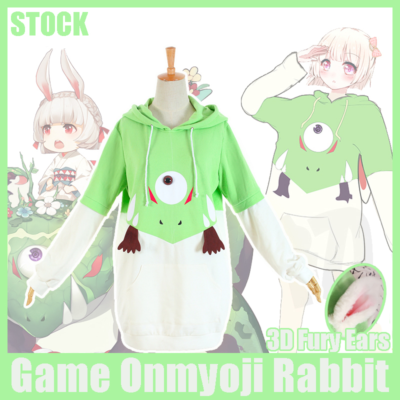 [Stock] 2017 HOT Game Onmyoji Rabbit 3D fury Ears and Tail Fleece Hoodie Pullover Top Cosplay Jacket New free shipping rabbit print pullover