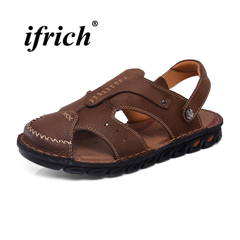 Mens Sandals Genuine Leather Mens Shoes Casual Summer Flat Sandals for Men Brown Footwear Male Breathable Lightweight Sandals