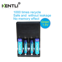KENTLI 4pcs 1.5v aa aaa 3000/ 1180mWh  Rechargeable Li-ion Li-polymer Lithium battery + 4 slots AA AAA lithium Smart Charger