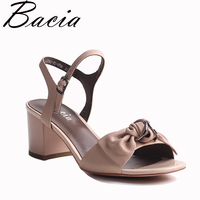 Bacia Full Grain Leather And Sheep Skin Sandals Handmade Quality Women Shoes Summer Square Heels Genuine