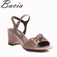 Bacia Full Grain Leather And Sheep Skin Sandals Handmade Quality Women Shoes Summer Square Heels Genuine