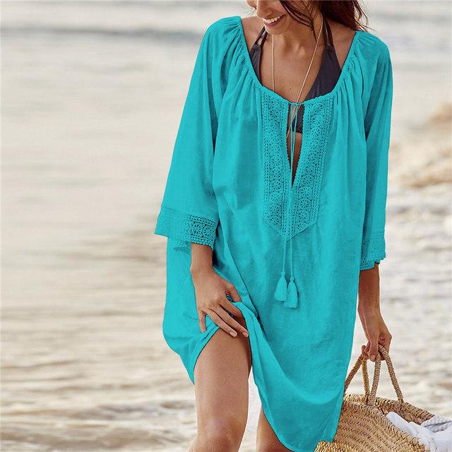 Women Elegant Vintage Tunic Beach Dress Cotton Summer Dresses Plus Size Bohemian Dresses Summer Dress Vestidos #N363