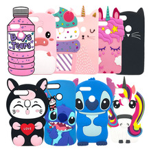 For Huawei Y7 2018 Cover Cute 3D Cartoon Unicorn Stitch Cat Soft Silicone Phone Case Pro Prime
