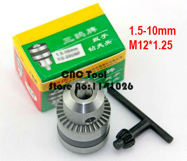 Free Shipping Tapered Tip 1.5-10mm Capacity M12*1.25 Mount Key Type Drill Chuck The Link To The M12*1.25,Adaptor For Drills Powe