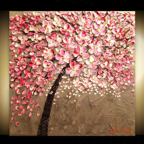Hand made oil painting on canvas tree pink flower oil painting hand made oil painting on canvas tree pink flower oil painting abstract modern canvas wall art mightylinksfo